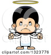 Clipart Of A Cartoon Mad Chimpanzee Monkey Angel Royalty Free Vector Illustration