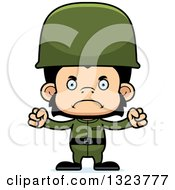 Clipart Of A Cartoon Mad Chimpanzee Monkey Soldier Royalty Free Vector Illustration by Cory Thoman