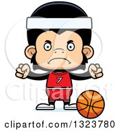 Clipart Of A Cartoon Mad Chimpanzee Monkey Basketball Player Royalty Free Vector Illustration by Cory Thoman