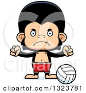 Clipart Of A Cartoon Mad Chimpanzee Monkey Beach Volleyball Player Royalty Free Vector Illustration by Cory Thoman
