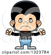 Clipart Of A Cartoon Mad Casual Chimpanzee Monkey Royalty Free Vector Illustration by Cory Thoman