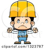 Cartoon Mad Chimpanzee Monkey Construction Worker