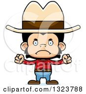 Clipart Of A Cartoon Mad Chimpanzee Monkey Cowboy Royalty Free Vector Illustration