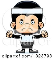 Clipart Of A Cartoon Mad Fitness Chimpanzee Monkey Royalty Free Vector Illustration by Cory Thoman