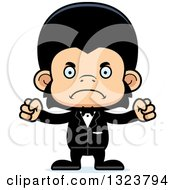Clipart Of A Cartoon Mad Chimpanzee Monkey Groom Royalty Free Vector Illustration by Cory Thoman