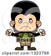 Clipart Of A Cartoon Mad Chimpanzee Monkey Hiker Royalty Free Vector Illustration by Cory Thoman