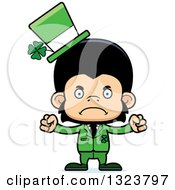 Clipart Of A Cartoon Mad St Patricks Day Chimpanzee Monkey Royalty Free Vector Illustration by Cory Thoman
