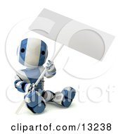 Blue And White Striped Metal Robot Sitting On The Ground And Holding A Blank Sign Clipart Illustration