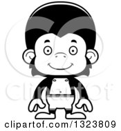 Lineart Clipart Of A Cartoon Black And White Happy Chimpanzee Monkey Swimmer Royalty Free Outline Vector Illustration