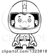Lineart Clipart Of A Cartoon Black And White Happy Chimpanzee Monkey Race Car Driver Royalty Free Outline Vector Illustration