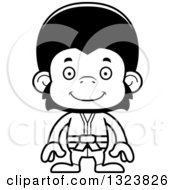 Lineart Clipart Of A Cartoon Black And White Happy Karate Chimpanzee Monkey Royalty Free Outline Vector Illustration