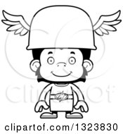 Lineart Clipart Of A Cartoon Black And White Happy Chimpanzee Monkey Hermes Royalty Free Outline Vector Illustration
