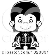 Lineart Clipart Of A Cartoon Black And White Happy Chimpanzee Monkey Groom Royalty Free Outline Vector Illustration