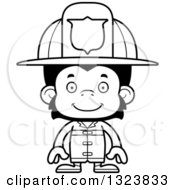 Lineart Clipart Of A Cartoon Black And White Happy Chimpanzee Monkey Firefighter Royalty Free Outline Vector Illustration