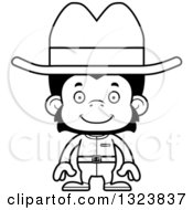 Lineart Clipart Of A Cartoon Black And White Happy Chimpanzee Monkey Cowboy Royalty Free Outline Vector Illustration