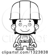 Cartoon Black And White Happy Chimpanzee Monkey Construction Worker