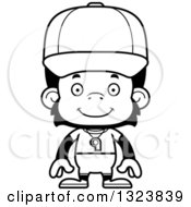 Lineart Clipart Of A Cartoon Black And White Happy Chimpanzee Monkey Coach Royalty Free Outline Vector Illustration