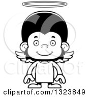 Lineart Clipart Of A Cartoon Black And White Happy Chimpanzee Monkey Angel Royalty Free Outline Vector Illustration