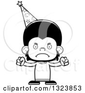 Lineart Clipart Of A Cartoon Black And White Mad Chimpanzee Monkey Wizard Royalty Free Outline Vector Illustration
