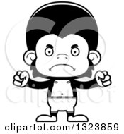 Lineart Clipart Of A Cartoon Black And White Mad Chimpanzee Monkey Swimmer Royalty Free Outline Vector Illustration