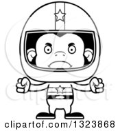 Lineart Clipart Of A Cartoon Black And White Mad Chimpanzee Monkey Race Car Driver Royalty Free Outline Vector Illustration