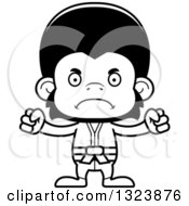 Lineart Clipart Of A Cartoon Black And White Mad Karate Chimpanzee Monkey Royalty Free Outline Vector Illustration