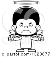 Lineart Clipart Of A Cartoon Black And White Mad Chimpanzee Monkey Angel Royalty Free Outline Vector Illustration