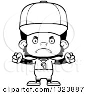 Lineart Clipart Of A Cartoon Black And White Mad Chimpanzee Monkey Coach Royalty Free Outline Vector Illustration