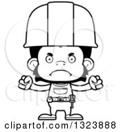 Cartoon Black And White Mad Chimpanzee Monkey Construction Worker
