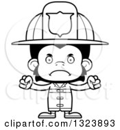 Lineart Clipart Of A Cartoon Black And White Mad Chimpanzee Monkey Firefighter Royalty Free Outline Vector Illustration