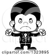 Lineart Clipart Of A Cartoon Black And White Mad Chimpanzee Monkey Groom Royalty Free Outline Vector Illustration