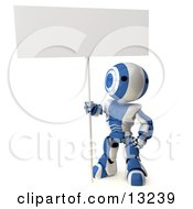 Blue And White Striped Metal Robot Standing And Holding A Big Blank Sign