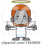 Clipart Of A Cartoon Mad Orangutan Monkey Angel Royalty Free Vector Illustration