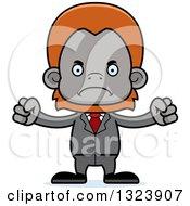 Clipart Of A Cartoon Mad Orangutan Monkey Business Man Royalty Free Vector Illustration