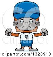 Clipart Of A Cartoon Mad Orangutan Monkey Sports Coach Royalty Free Vector Illustration