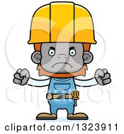 Cartoon Mad Orangutan Monkey Construction Worker