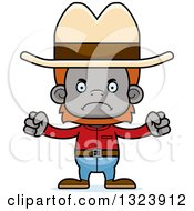 Clipart Of A Cartoon Mad Cowboy Orangutan Monkey Royalty Free Vector Illustration