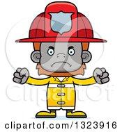 Clipart Of A Cartoon Mad Orangutan Monkey Firefighter Royalty Free Vector Illustration