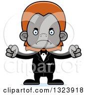 Clipart Of A Cartoon Mad Orangutan Monkey Groom Royalty Free Vector Illustration