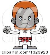 Clipart Of A Cartoon Mad Karate Orangutan Monkey Royalty Free Vector Illustration