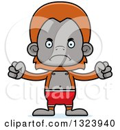 Clipart Of A Cartoon Mad Orangutan Monkey Swimmer Royalty Free Vector Illustration