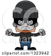 Clipart Of A Cartoon Mad Orangutan Monkey Robber Royalty Free Vector Illustration