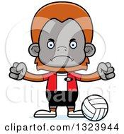 Cartoon Mad Orangutan Monkey Volleyball Player