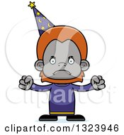 Clipart Of A Cartoon Mad Orangutan Monkey Wizard Royalty Free Vector Illustration by Cory Thoman