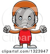 Cartoon Mad Orangutan Monkey Wrestler
