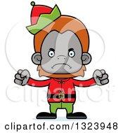 Clipart Of A Cartoon Mad Christmas Elf Orangutan Monkey Royalty Free Vector Illustration