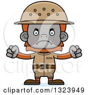 Cartoon Mad Orangutan Monkey Zookeeper