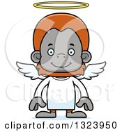 Clipart Of A Cartoon Happy Orangutan Monkey Angel Royalty Free Vector Illustration