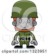 Cartoon Happy Orangutan Monkey Soldier