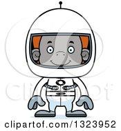 Cartoon Happy Orangutan Monkey Astronaut